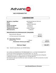 Liquidación José Becerra - Advanced 3D.xls