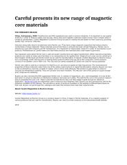 Careful presents its new range of magnetic core materials.docx